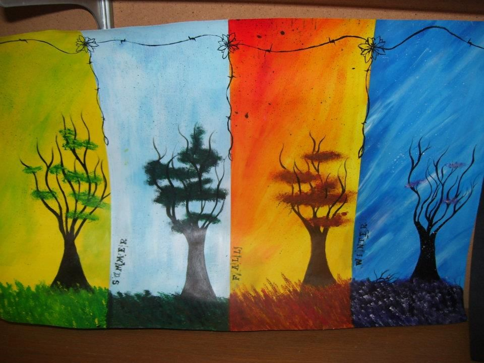 Acrylic Seasons Painting On Poster Board Painting