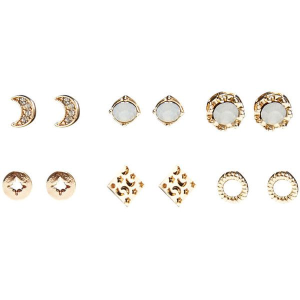 Mystical Moonstone Earring Set ($8.90) ❤ liked on Polyvore featuring jewelry, earrings, gold, post earrings, moonstone earrings, wet seal jewelry, fake earrings and imitation jewelry