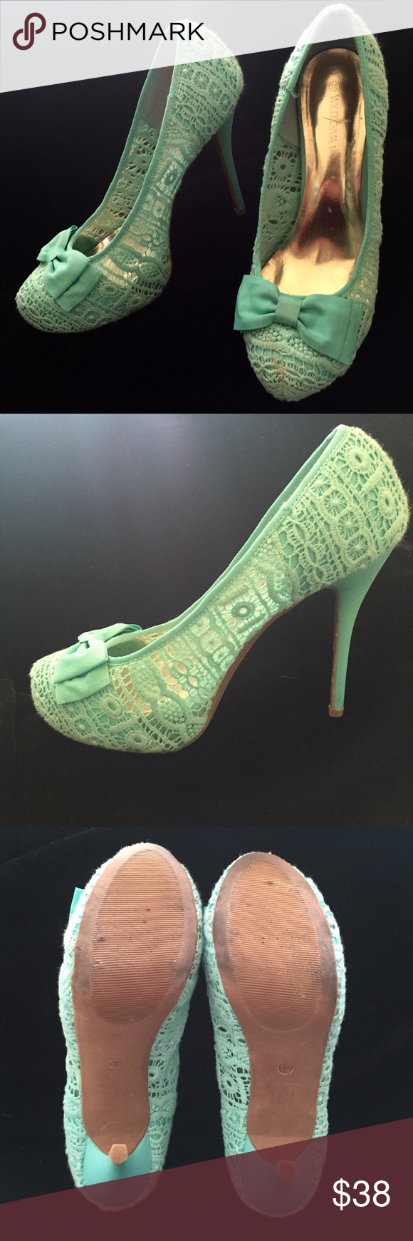 Mint Green Lace Shoes Mint Green Lace Shoes with an adorable now. These were worn sometimes on Sunday to church.  You will not find another pair anywhere like this style and color. Wild Diva Shoes Platforms