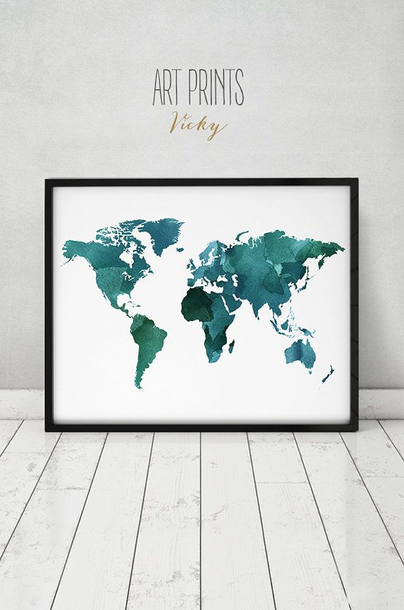 Large World Map Poster, Green World Map Print, World Map Watercolor, Travel  Map, World Map, Home Decor, Wedding Guest, Book ArtPrintsVicky.