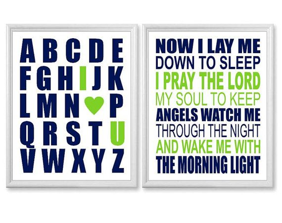 Baby Boys Room Decor, Navy and Lime Green Baby Nursery Art Print Set ...