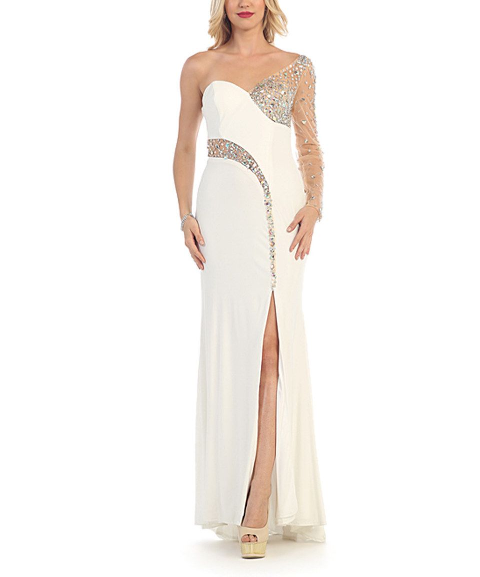 Take a look at this may queen ivory rhinestonecontrast asymmetrical