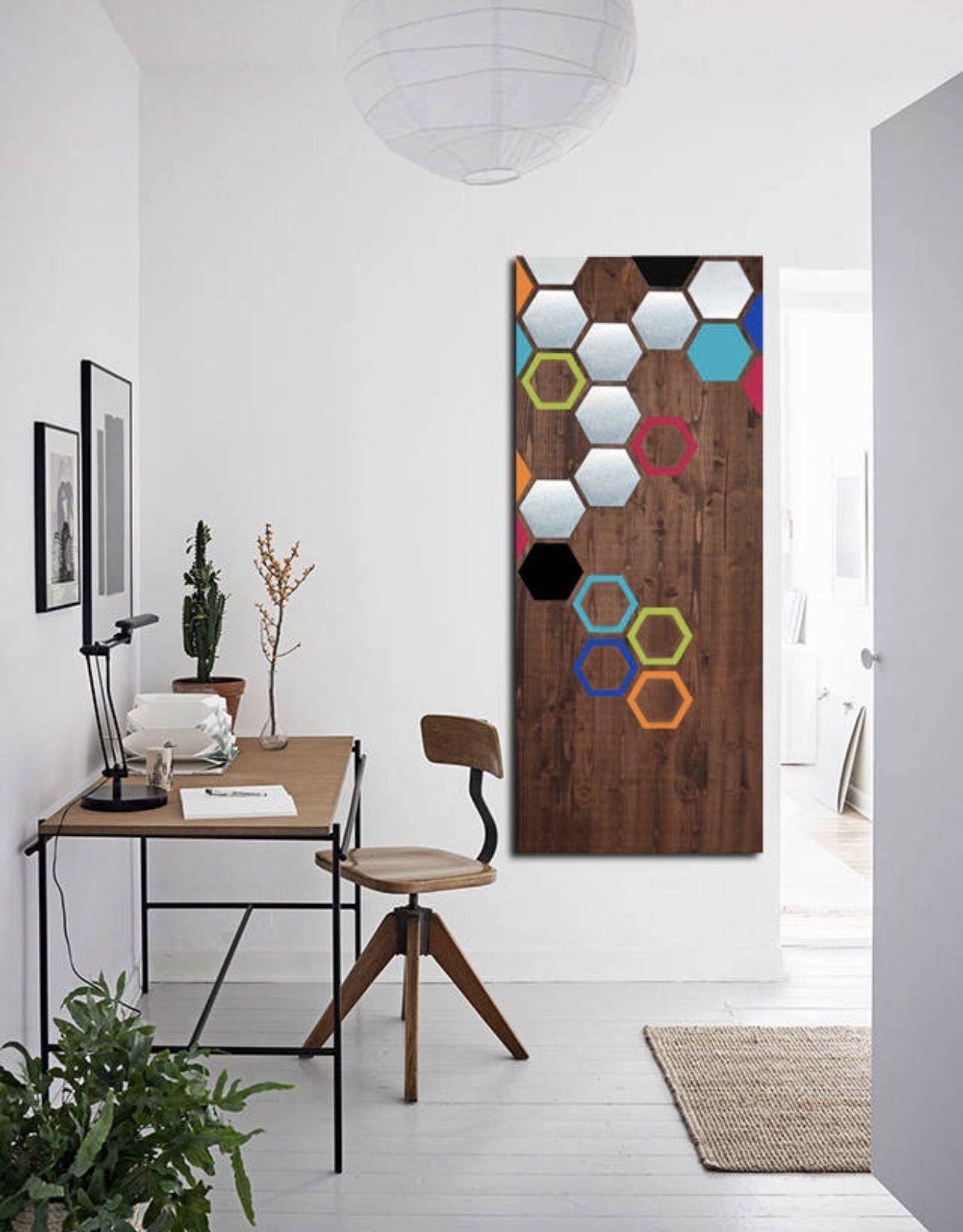 Modern wall art made with real pine wood panels sheet metal and paint link on my shop link for more modernart metalart woodwallart abstractart