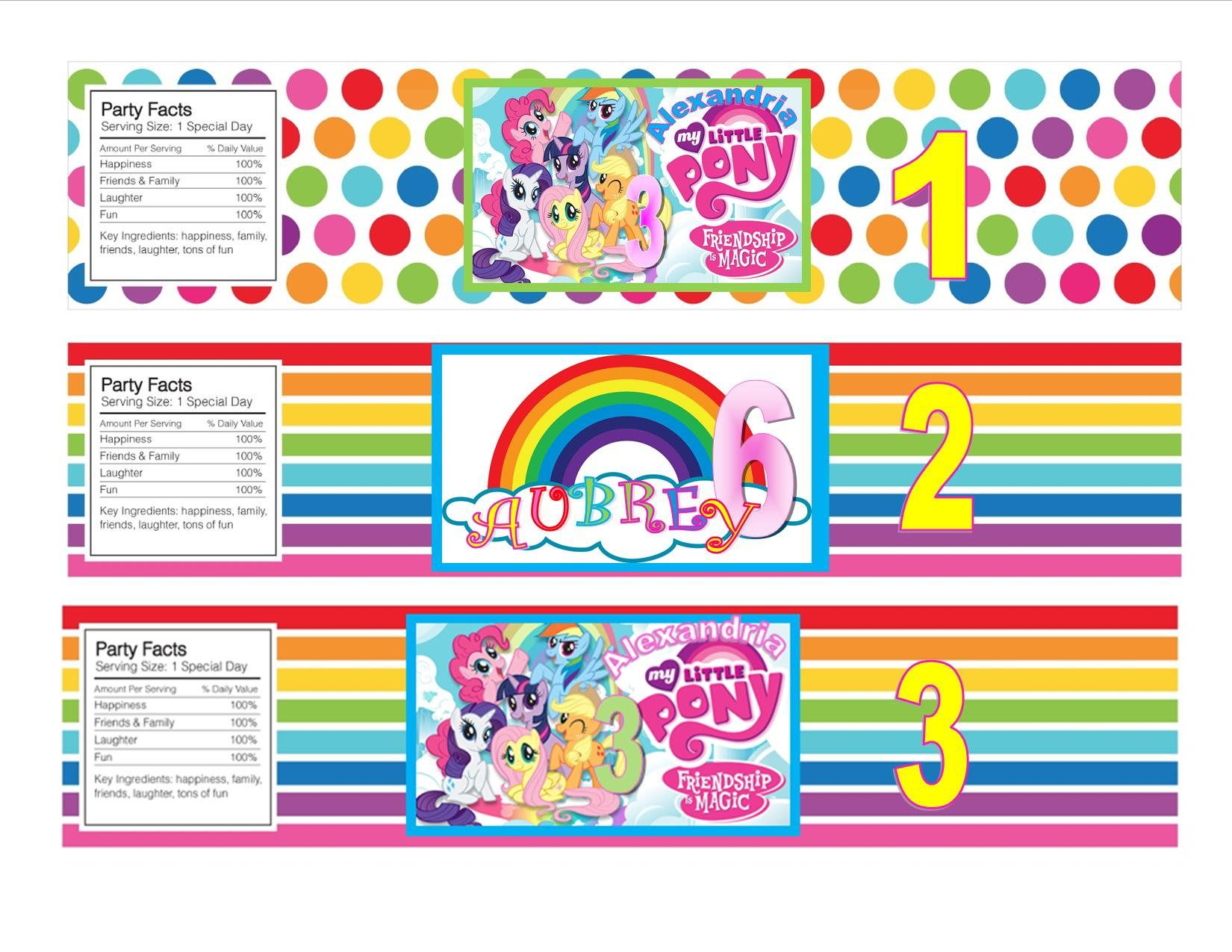 My Little Pony Water Bottle Label PRINTED Personalized Birthday Party