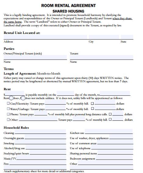 5 Room Al Agreement Form Templates