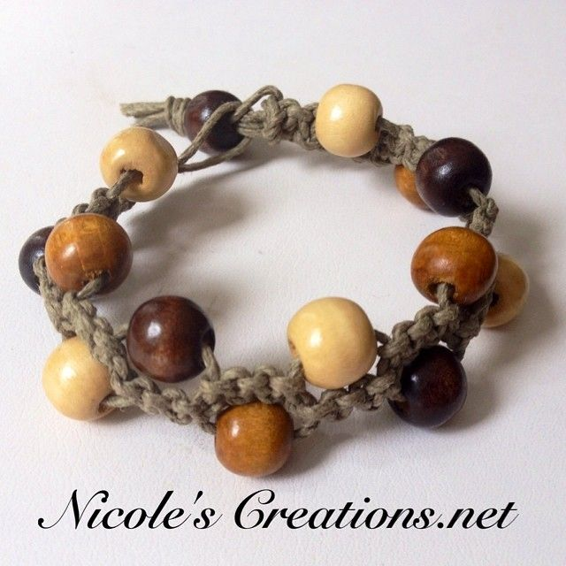 Earth toned wood beaded bracelet available at www.nicolescreations.net