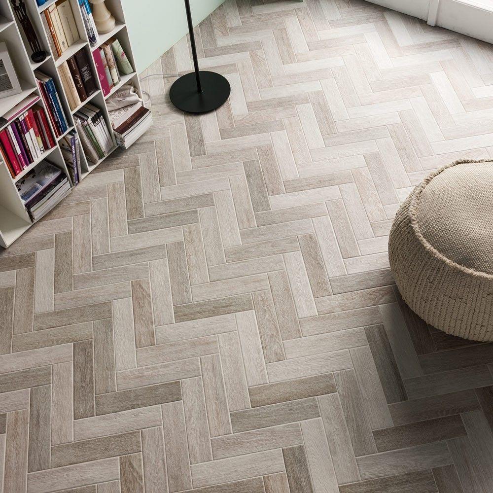 Herringbone White Wood tile floors, Wooden floors living