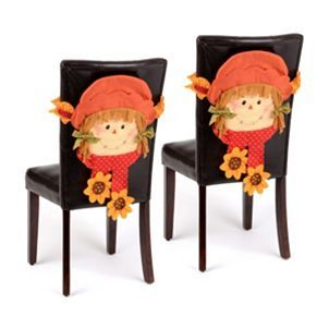 Astonishing Product Details Scarecrow Girl Chair Cover Set Of 2 Fall Lamtechconsult Wood Chair Design Ideas Lamtechconsultcom