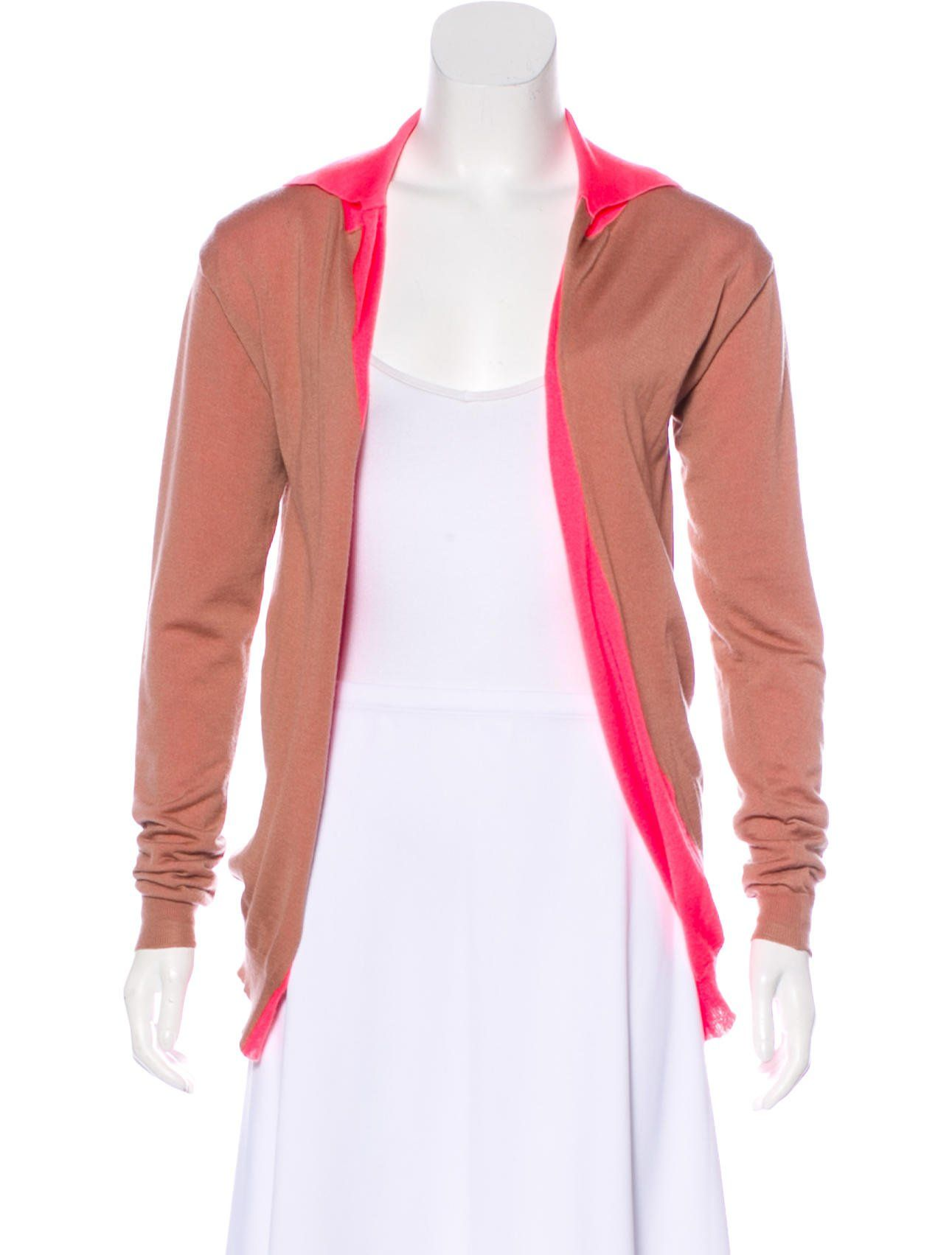 a772895414f6ae Coral and pink Marni cashmere lightweight knit reversible cardigan with  pointed collar, long sleeves and open front.