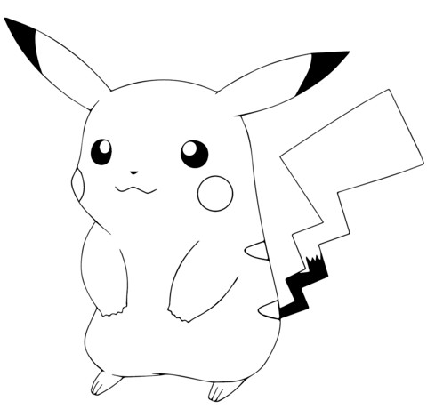 Pikachu Coloring Pages Pok Mon Go Page Free Printable Simple For Kids Halaman Mewarnai Pikachu Pokemon