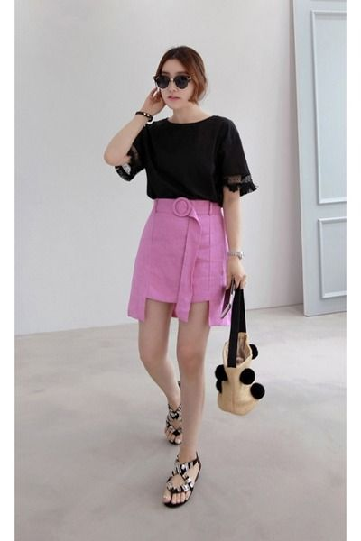 black MIAMASVIN top - bubble gum MIAMASVIN skirt - MIAMASVIN flats
