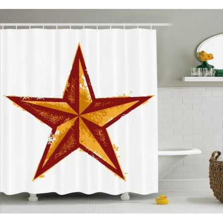 Primitive Country Shower Curtain Grunge Western Star Retro Style Worn Aged Design Fabric Bathroom Set With Hooks 69W X 75L Inches Long