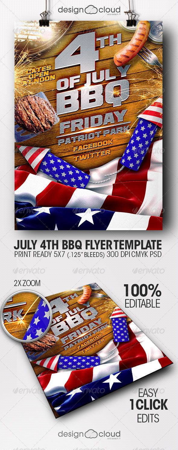 July Th Bbq Flyer Template  Flyer Template Template And