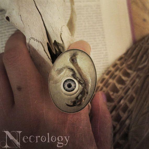 Bird Claw & Doll Eye Ring Oddities Curiosities by Necrology