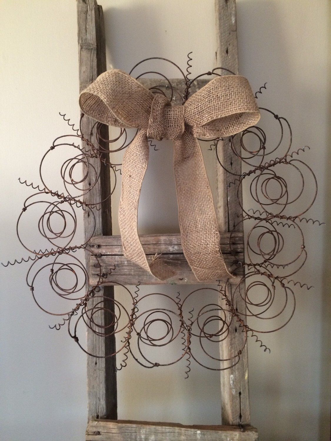 Rusty Metal Bed Spring Wreath and a Burlap Bow, Recycled