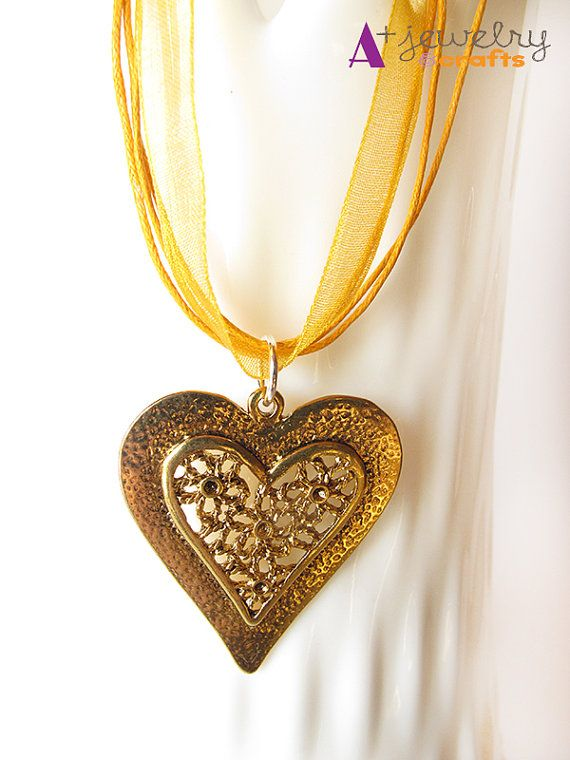 Orange yellow heart gold heart hearts heart by APlusJewelryCrafts