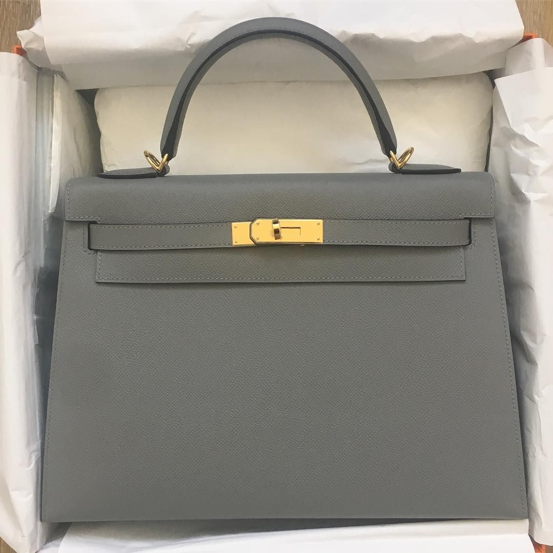 40a490c5dc2b Hermes 32cm Kelly Sellier in Gris Mouette Epsom leather with gold hardware