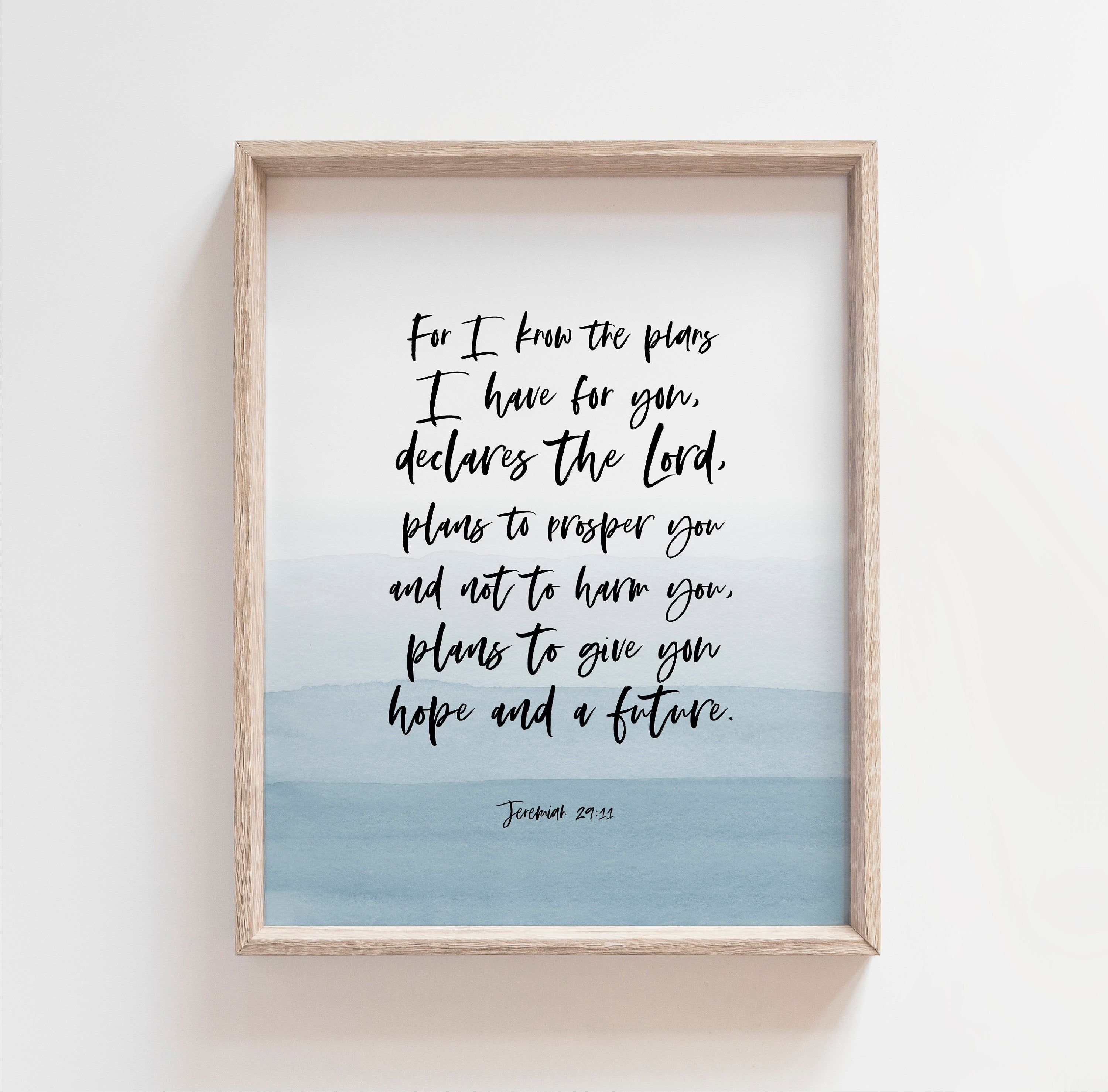 Jeremiah 29 11 Bible Verse Wall Art For I Know The Plans Etsy In 2021 Bible Verse Wall Art Bible Verse Wall Bible Verse Painting