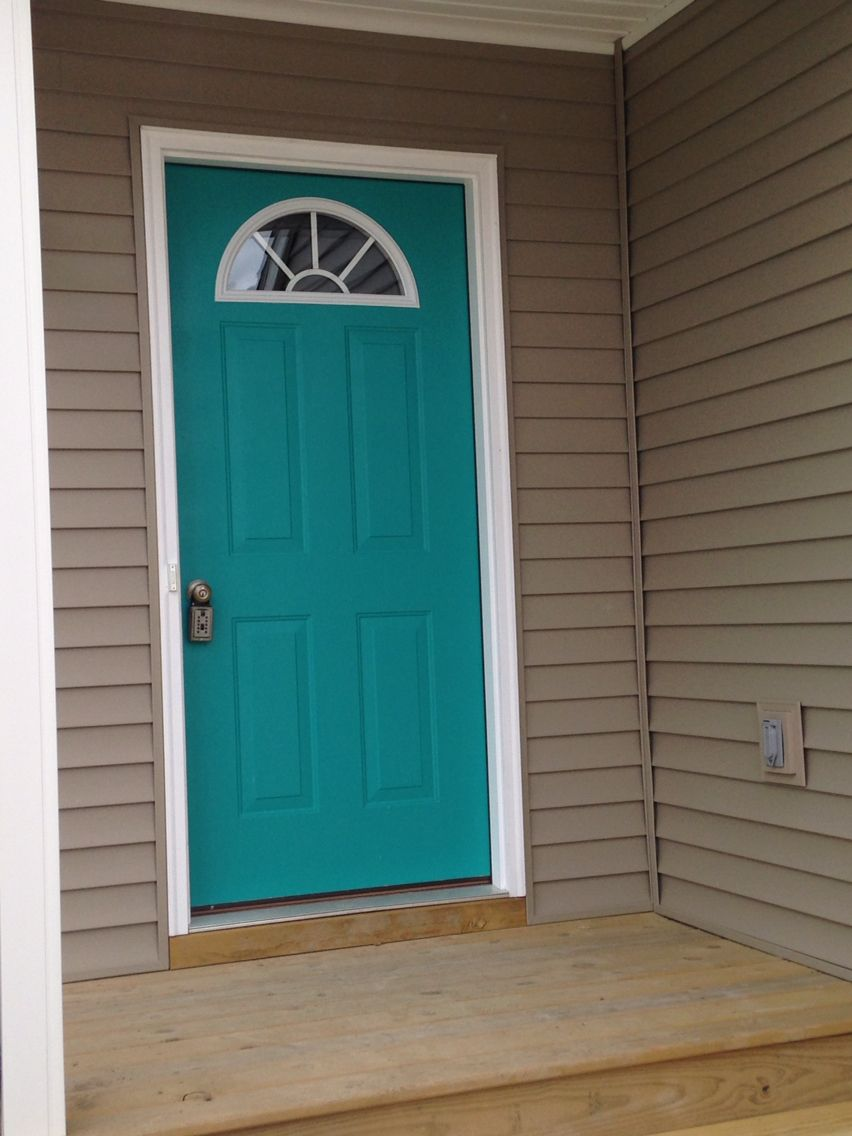 Our front door nifty turquoise sherwin williams i - Door colors for brown house ...