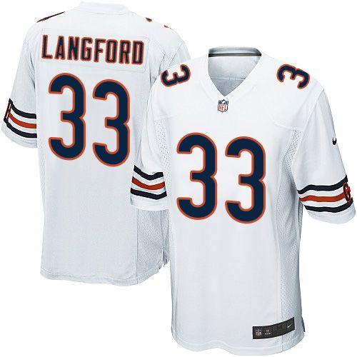 Nike Game Jeremy Langford White Men's Jersey - Chicago Bears #33 ...