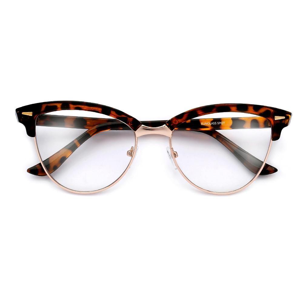 d3359c6024 53mm Half Frame Cat Eye Silhouette Sophisticated Clear Eyewear ...