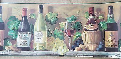Graham Brown 10 X 15 Ft Wine Bottles Grape Vineyard Kitchen Wallpaper Border Wallpaper Border Kitchen Kitchen Window Treatments Diy Kitchen Wallpaper