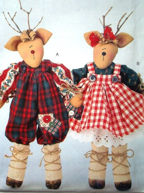 "Butterick 4121 Needle in a Haystack Pattern for 17"" (43cm) Mr. and Mrs. Reindeer Dolls. Uncut"