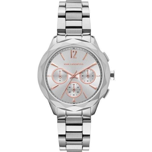 Women's Karl Lagerfeld 'Optik' Chronograph Bracelet Watch, 38Mm ($125) ❤ liked on Polyvore featuring jewelry, watches, chronograph watch, karl lagerfeld watches, bezel watches, bracelet watch and chronograph wrist watch
