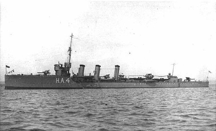 British Destroyer HMS Nicator. Nicator fought with the 13th Destroyer Flotilla at the Battle of Jutland on 31st May 1916