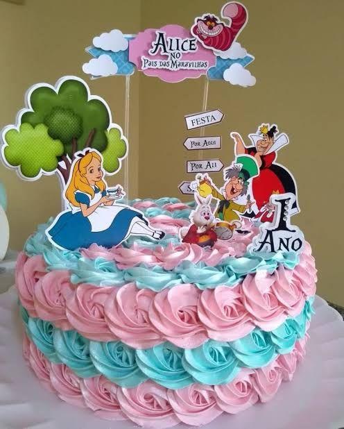 Topo De Bolo Alice No Pais Das Maravilhas Para Imprimir
