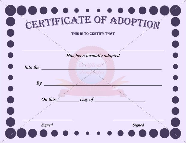 Adoption Certificate  Certificate Template    Adoption