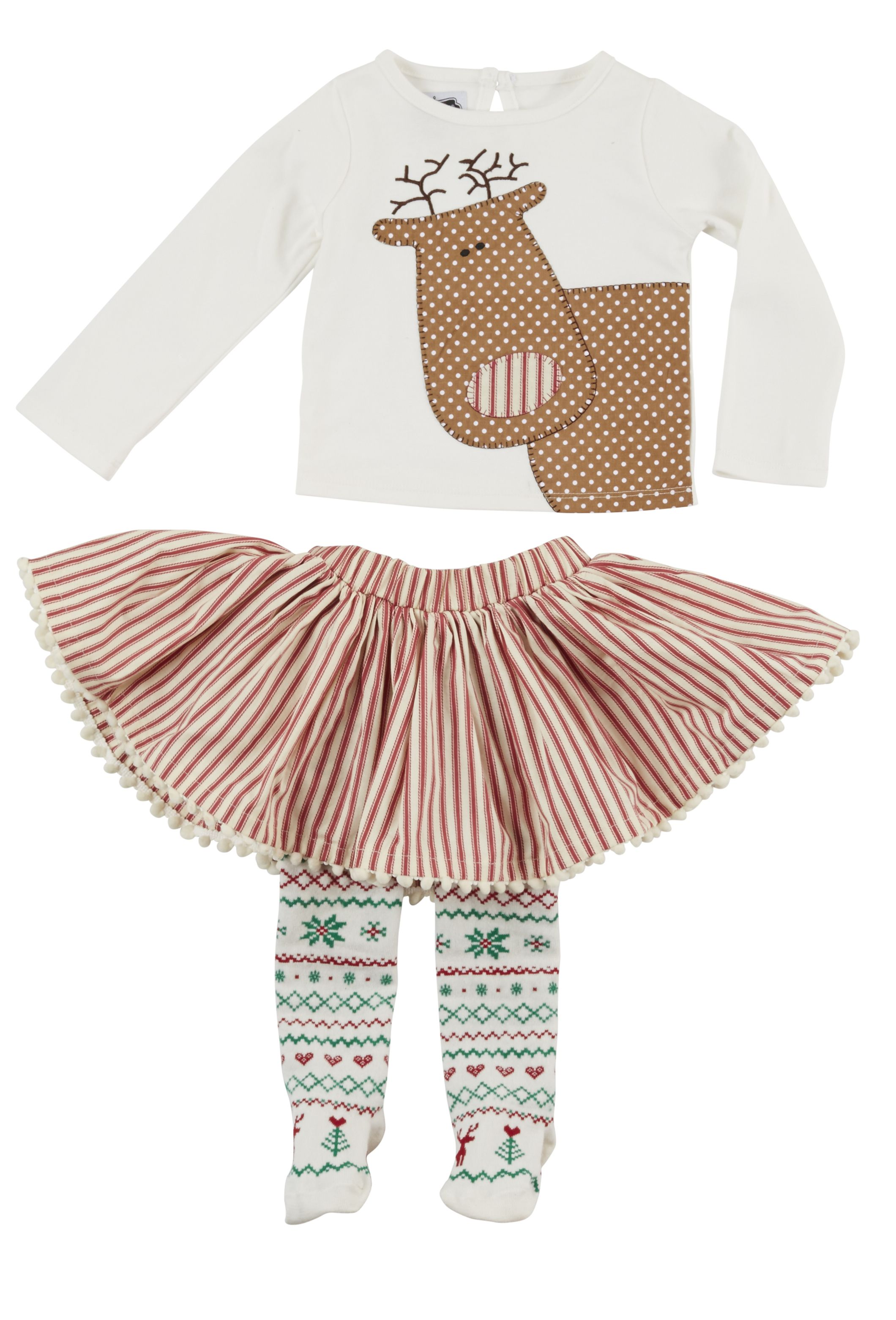 Mud Pie Christmas Holiday Reindeer Skirt Set with Attached Tights