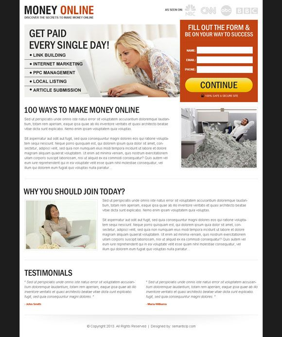 making money with landing pages