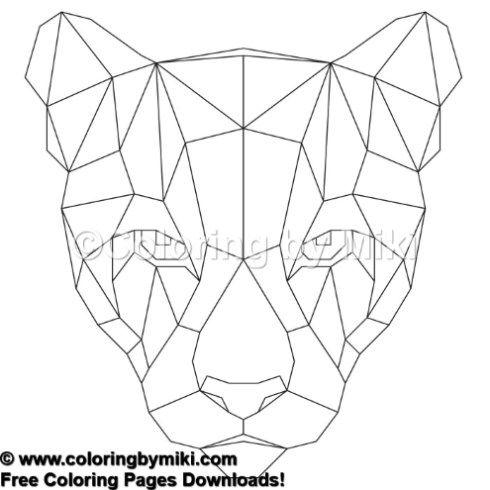 Geometric Animals Puma Coloring Page 887 Animals Beautiful