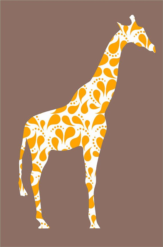 Children Giraffe Wall Decal with Paisley pattern for by Popitay