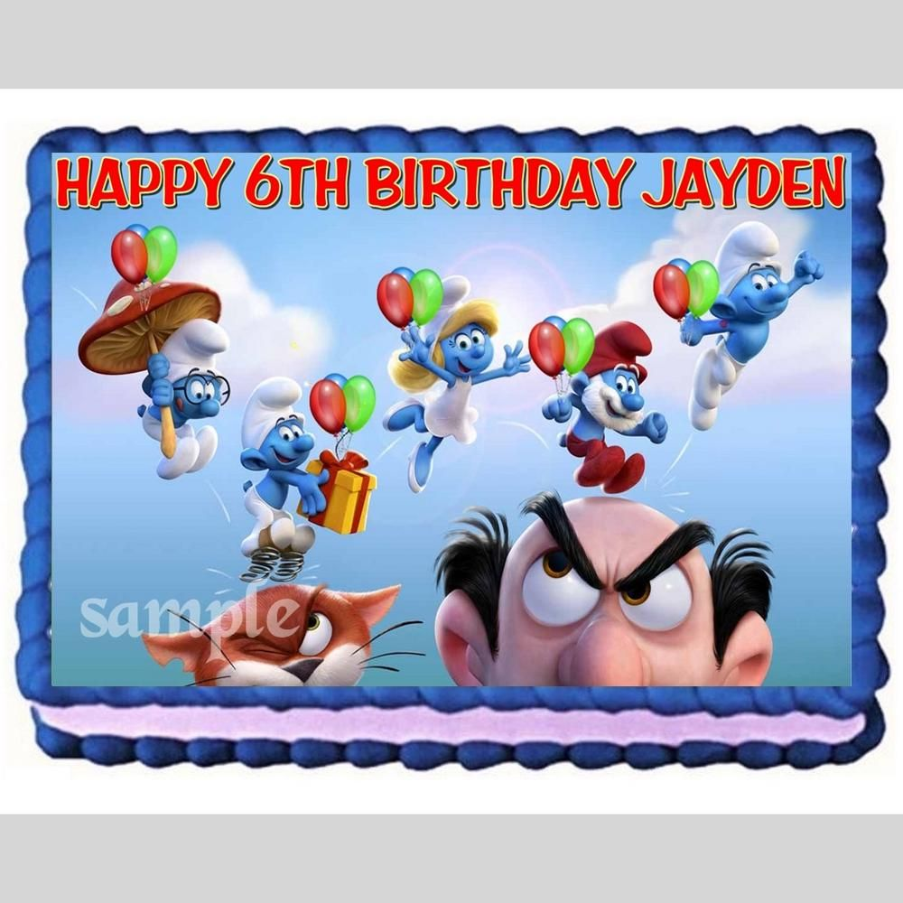 Smurfs edible cake image cake topper decoration party topper