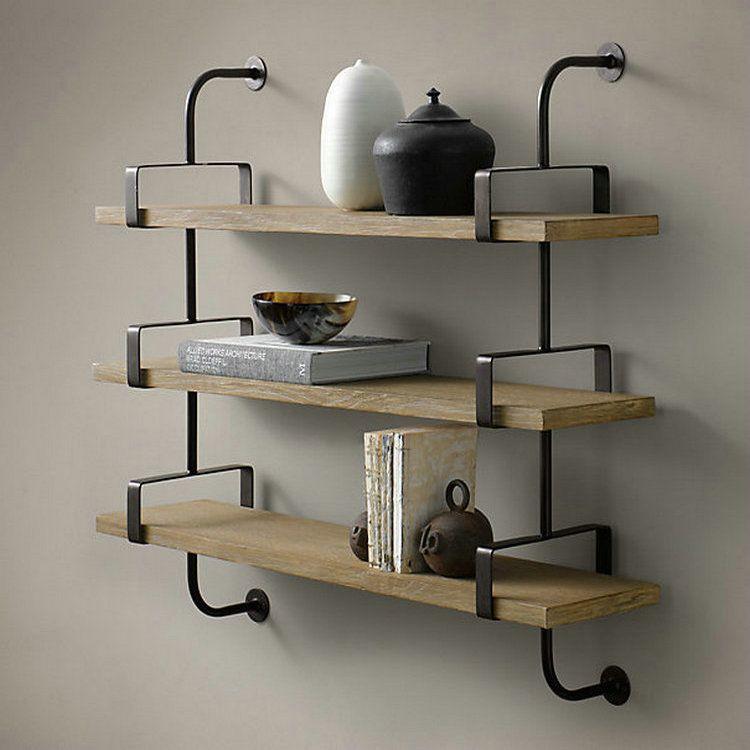 Loft Retro Style Living Room Den Wood Wrought Iron Racks
