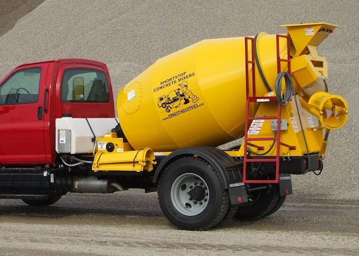 Ernest Industries Home Of The Shortstop Concrete Mixer Products Concrete Mixers Concrete Cement Mixer Truck