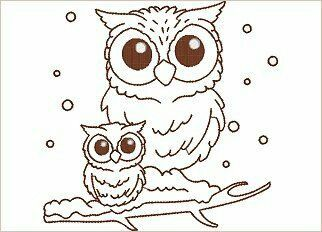 Mom And Baby Owls Drawing Baby Owl Tattoos