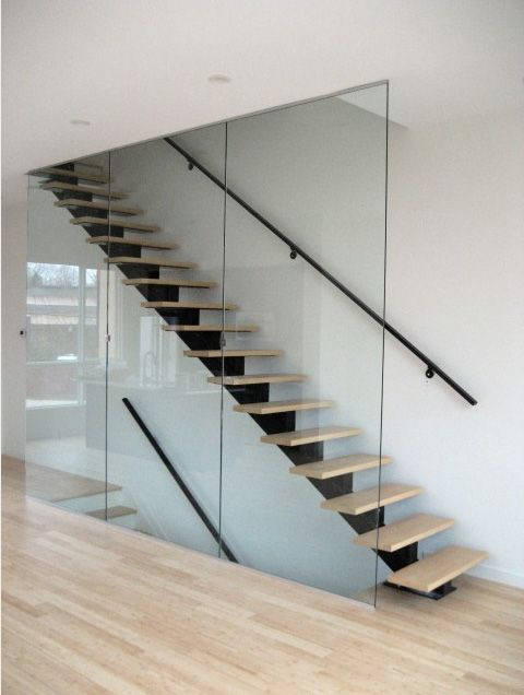 Floating stair central support stairs pinterest Floating stairs