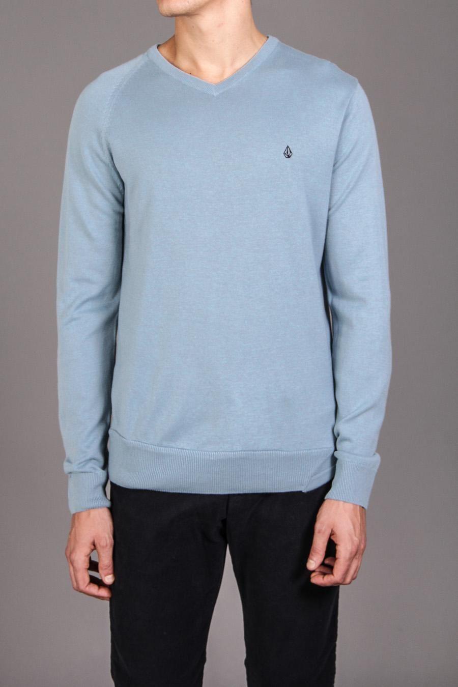 19 99 Volcom Standard Sweater Dark Blue Long Sleeve Tshirt Men Dapper Style Men Casual
