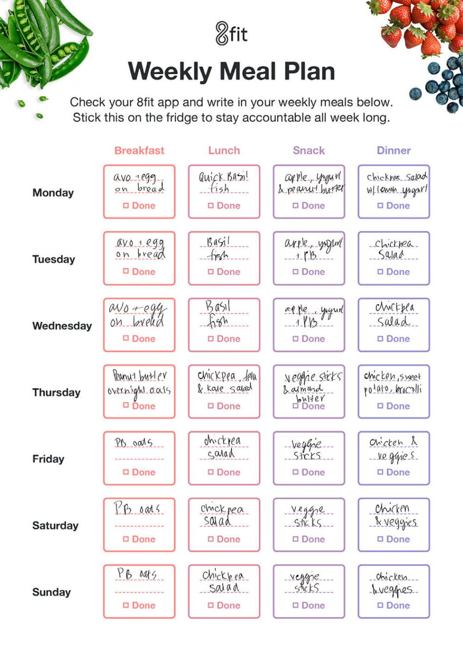 printable weekly meal planner template and grocery list