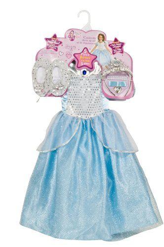 Amazon Com Cinderella Dress Up Set Child Size 4 To 6 Clothing Cinderella Dress Up Cinderella Dresses Little Girl Dress Up