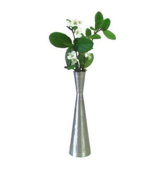 Selangor Pewter Bud Vase Vintage Silver Tone Textured Flower Vase