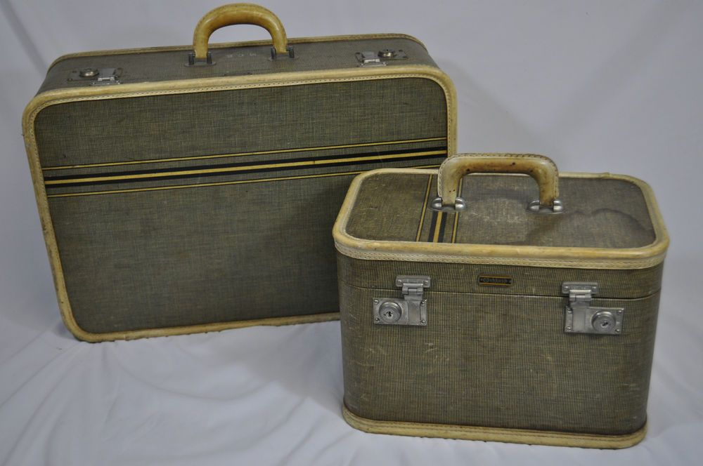 Vanity Suitcase With Lights Vintage Oshkosh Suitcase & Train Case~Luggage Set~Tweed Stripe