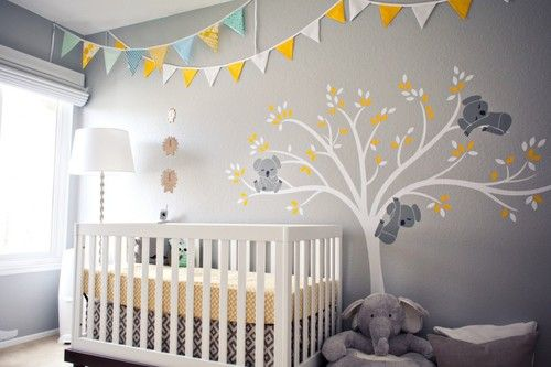 In love with this koala nursery! Yellow and gray make a great combo