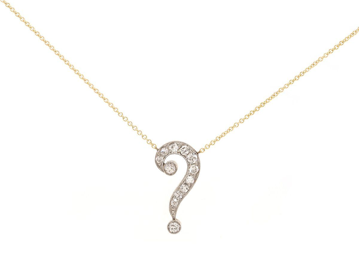 Charm Necklace Women/'s 14K White Gold Question Mark