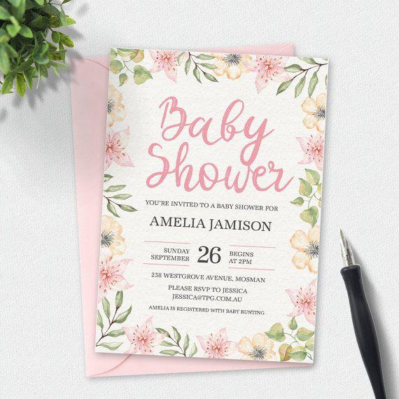 Pink floral baby shower invitation floral invitation watercolor baby shower invitation floral invitation watercolor invitation custom invitation printable invitation pink lily invitation filmwisefo