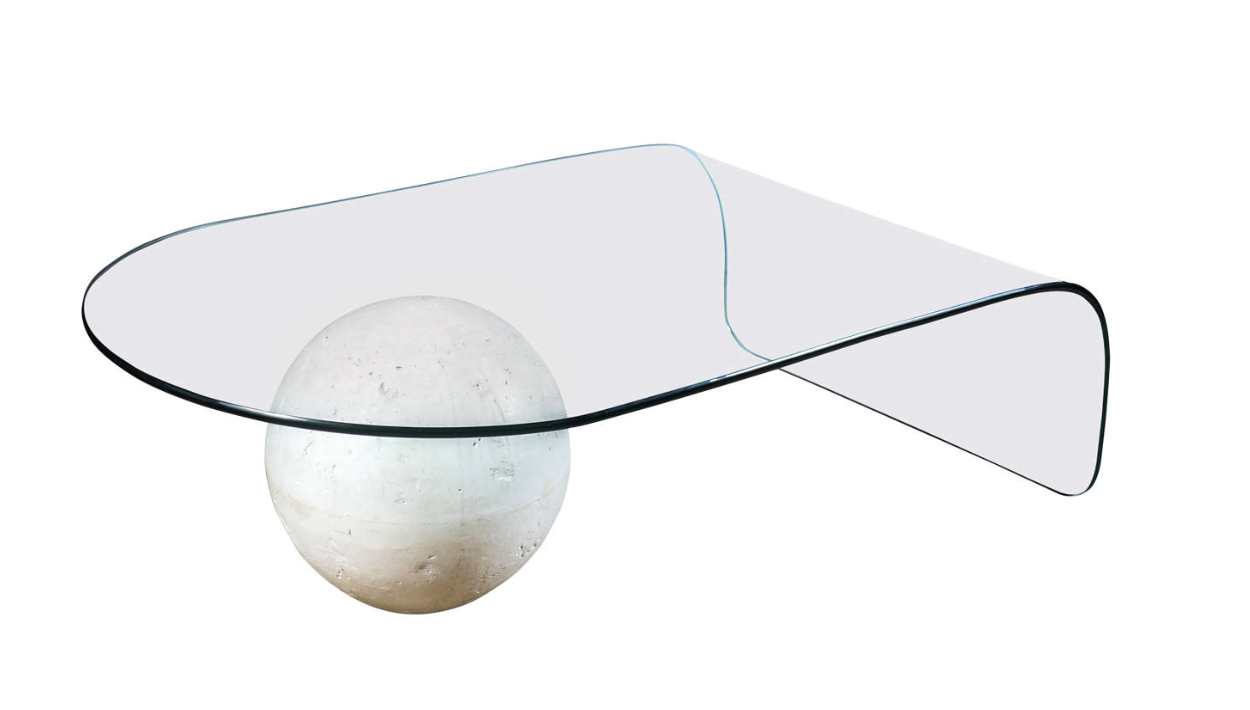 Glass Waterfall Coffee Table Plaster Sphere Glass Waterfall Coffee Table Mid Century Modern Coffee Table [ 710 x 1250 Pixel ]