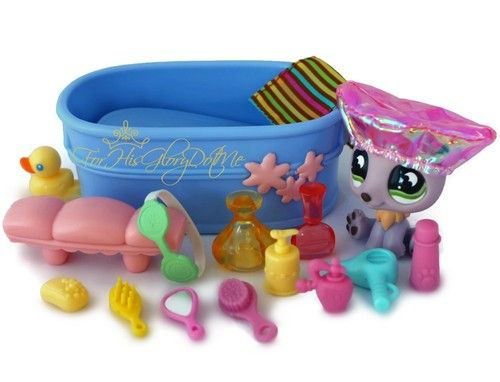 ✵Littlest Pet Shop LPS✵16 PC POLAR BEAR BATH SET LOT✵TUB✵